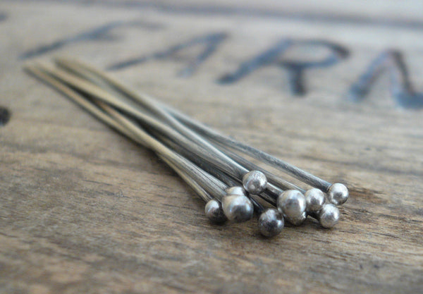 "10 3"" Fine Silver Handmade Ball Headpins - 20 gauge. 3 inches. Oxidized and polished"