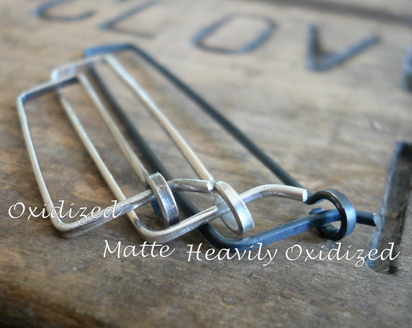 Svelte Hoops Medium - Handmade. Hand forged. Matte Sterling Silver Earrings