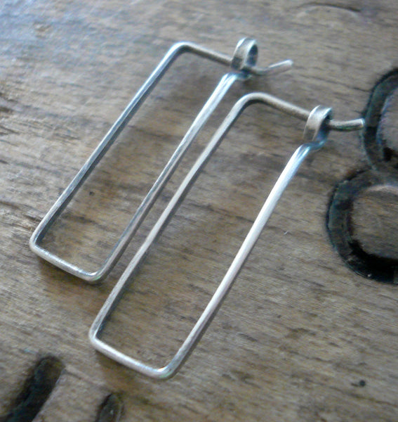 Svelte Hoops Small - Handmade. Hand forged. Oxidized Sterling Silver Earrings
