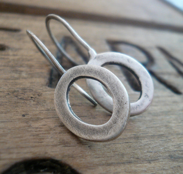 Modesty Earrings. Diamond - Handmade. Brushed fine recycled silver