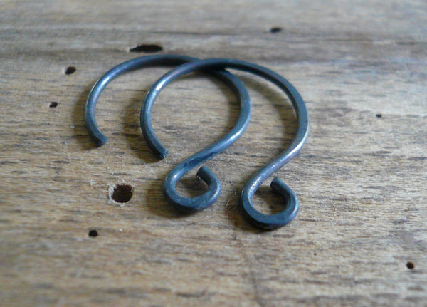 HEAVY 18 gauge Large Solitude Sterling Silver Earwires - Handmade. Handforged. Heavily Oxidized