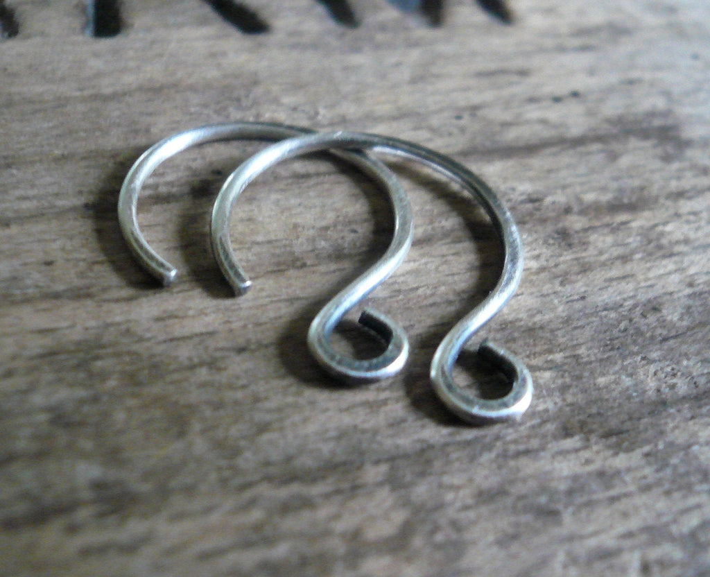 HEAVY 18 gauge Large Solitude Sterling Silver Earwires - Handmade. Handforged. Oxidized & polished