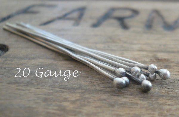 "10 2"" Fine Silver Handmade Ball Headpins - 20 gauge. 2 inches. Oxidized and polished"