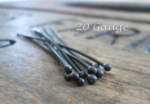 "10 2"" Fine Silver Handmade Ball Headpins - 20 gauge. 2 inches. Heavily Oxidized"