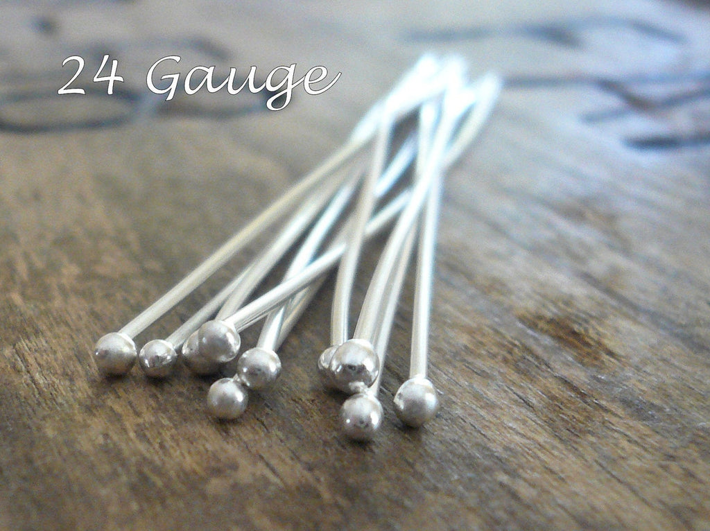 "10 3"" Fine Silver 24 GAUGE Handmade Ball Headpins - 3 inches."