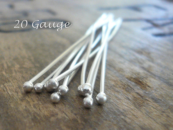 "10 3"" Fine Silver Handmade Ball Headpins - 20 gauge. 3 inches."