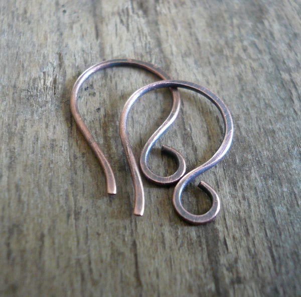 Twinkle Antique Copper Earwires - Handmade. Handforged. Oxidized.