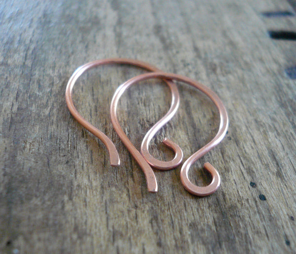 Large Twinkle Copper Earwires - Handmade. Handforged