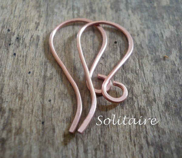 8 Pair Variety Pack Copper Earwires - Handmade. Handforged