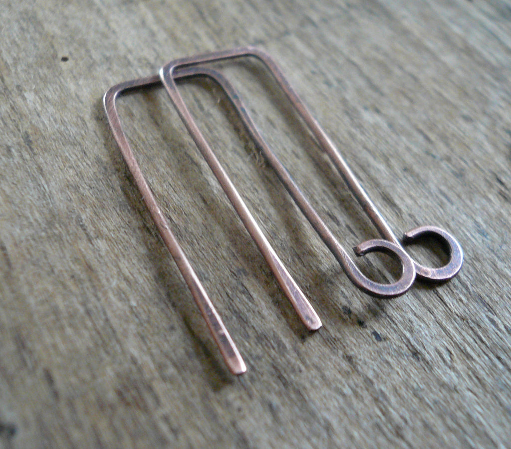 Millstone Antiqued Copper Earwires - Handmade. Handforged