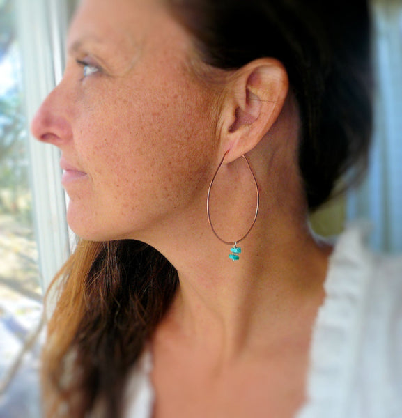Chumani Hoops - Choice of Copper, Sterling Silver, 14kt Goldfill. Handmade. Handforged. Hoop Earrings