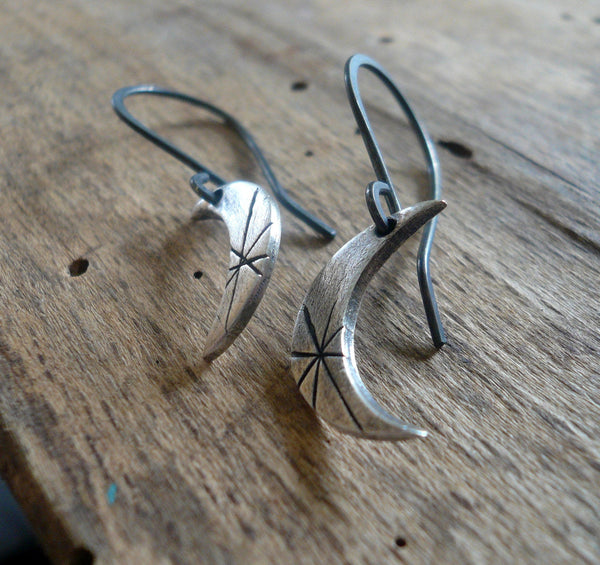 Luna Earrings - Handmade. Oxidized fine and sterling silver dangle earrings