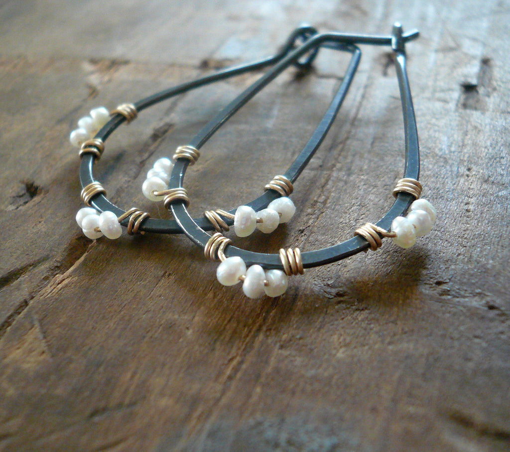 Medley Collection Hoops - Handmade. Hand forged. Seed Pearls. 14kt Goldfill. Heavily Oxidized Sterling Silver Earrings
