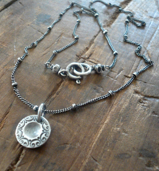 Orleans. Old South Collection Necklace - Oxidized fine and Sterling Silver. Handmade