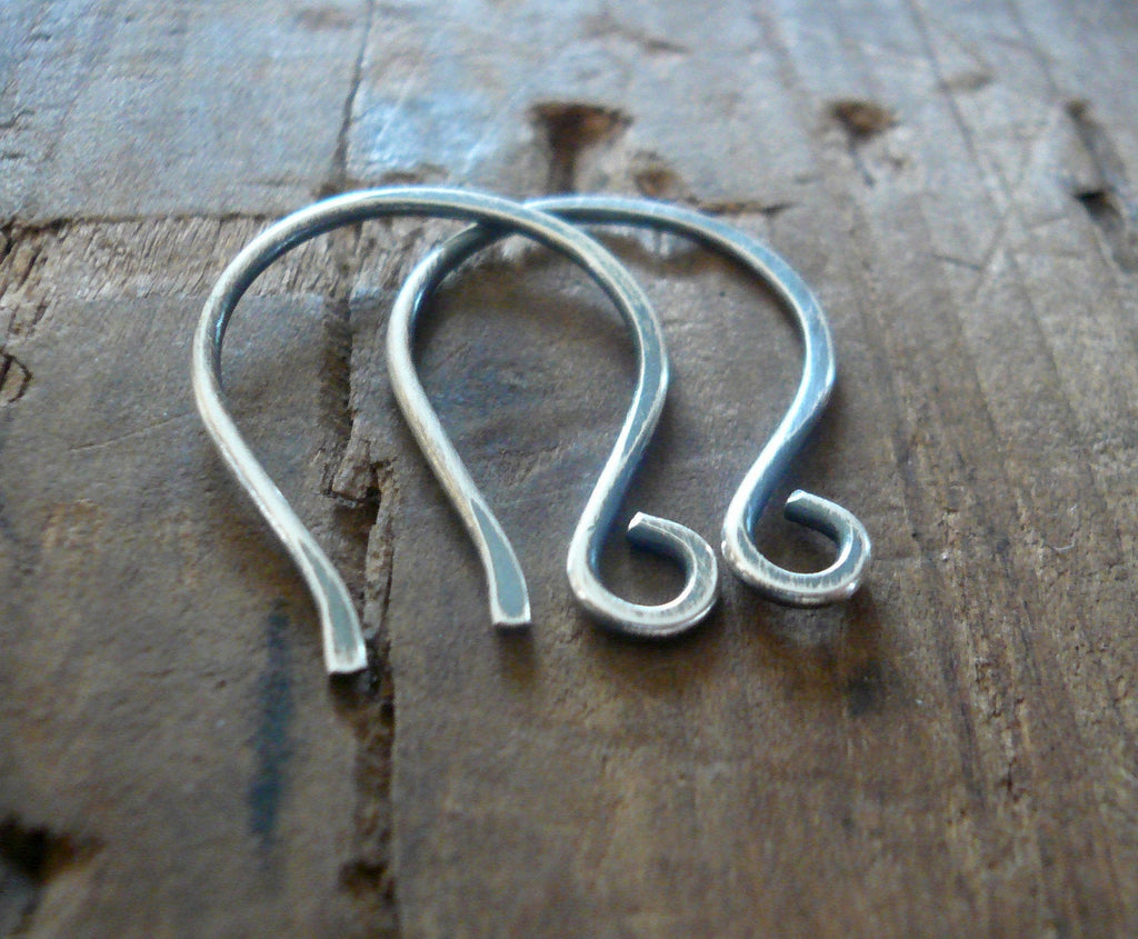 HEAVY 18 gauge Large Twinkle Sterling Silver Earwires - Handmade. Handforged. Oxidized/ polished