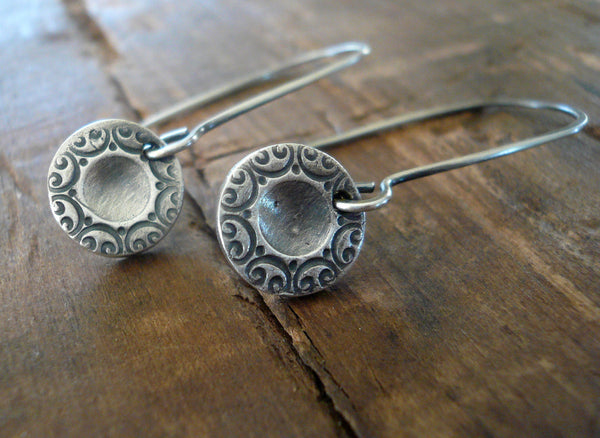Orleans. Old South Collection Earrings- Oxidized fine silver. Dangle earrings.Handmade