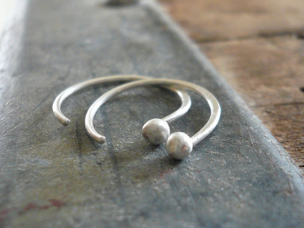 Polka Earrings - Handmade. Hand forged. Fine Silver Tiny Earrings. Choice of finishes