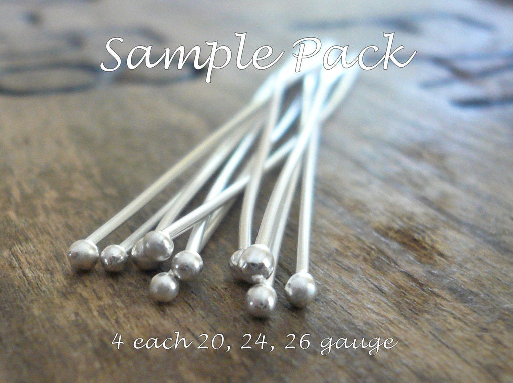 SAMPLE Pack Handmade Ball Headpins - 2 pair each of 24, 26 & 20 gauge, 2 inches.