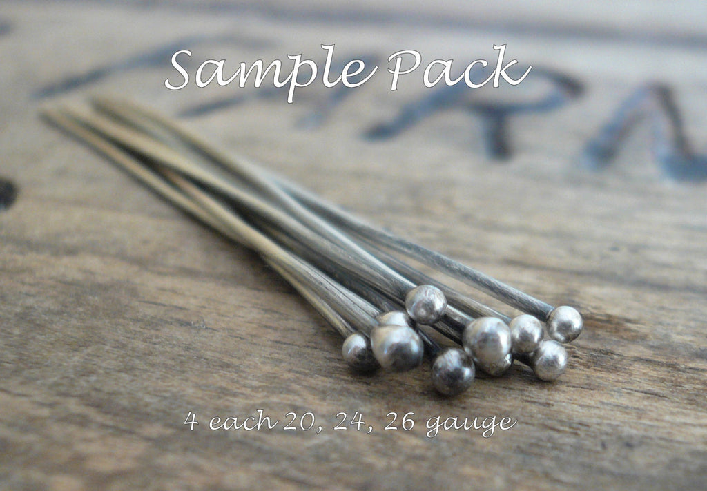 SAMPLE Pack Handmade Ball Headpins - 2 pair each of 24, 26 & 20 gauge, 2 inches. Oxidized and polished
