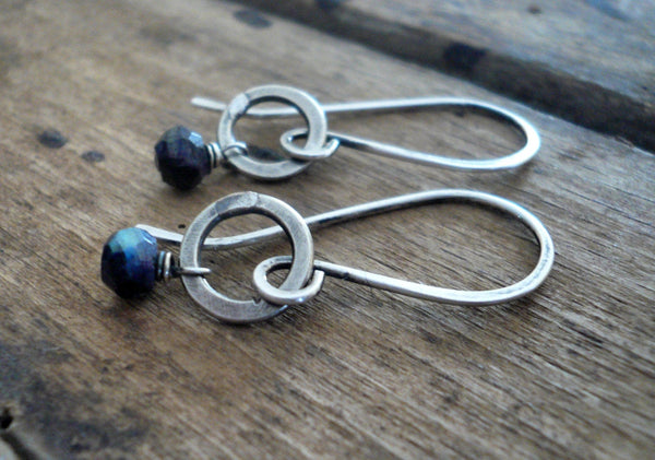 Solitaire Earrings - Semi-precious Gemstones, Hammered Sterling Silver, Choice of finishes