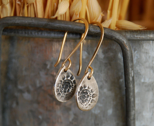 Charleston. Old South Collection Earrings - Oxidized fine silver. 14kt Goldfill. Mixed Metal. Handmade