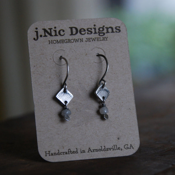 Meridian Earrings - Handmade. White Sapphires. Oxidized Sterling & Fine Silver