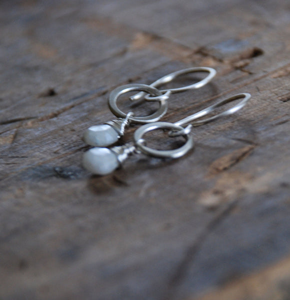 Verglas Earrings - Handmade. White Sapphires. Brushed Sterling Silver