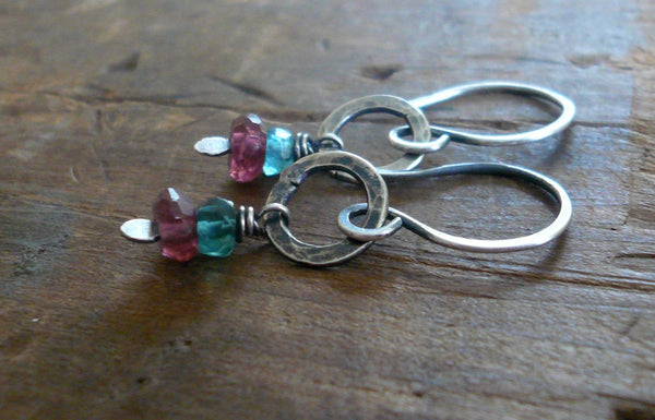 Sashay Earrings - Handmade. Apatite. Garnet. Textured and oxidized Sterling Silver