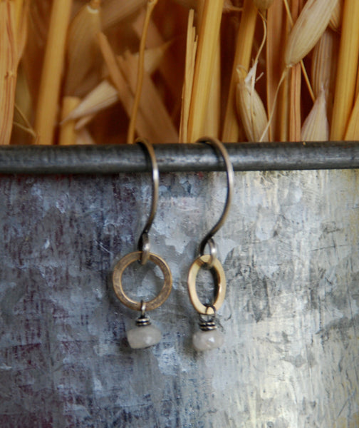 Twinkle Earrings - Handmade. Hand forged. White Sapphires. Oxidized Sterling Silver. 14kt Goldfill