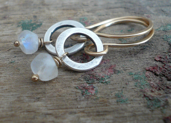 Twinkle Earrings Wonderland Collection - Handmade. Moonstone. 14kt Goldfill. Oxidized Sterling Silver