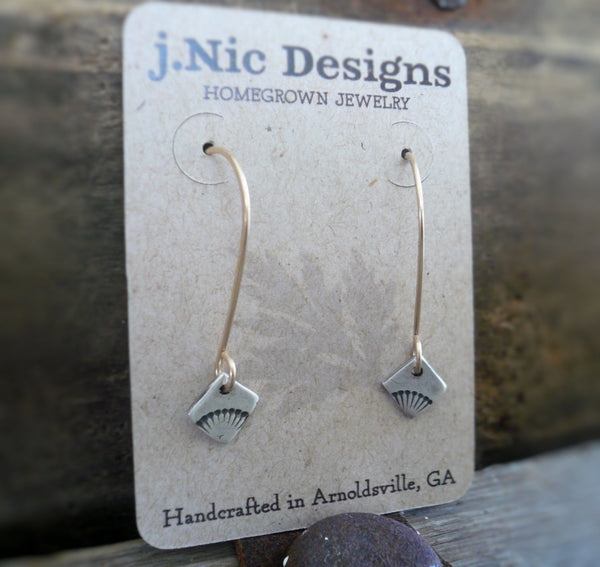 Horizon Earrings - Handmade. Mixed Metal. 14kt Goldfill & Oxidized fine silver