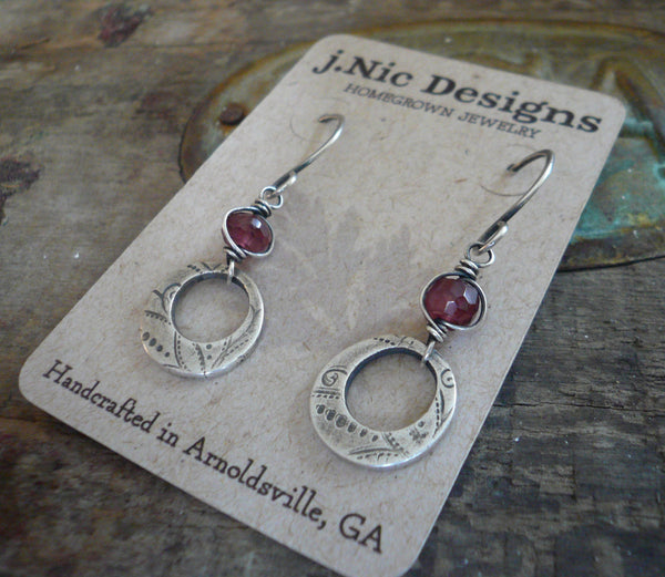 Winterberry Earrings  - Handmade. Wire wrapped Rhodolite Garnet. Oxidized fine silver