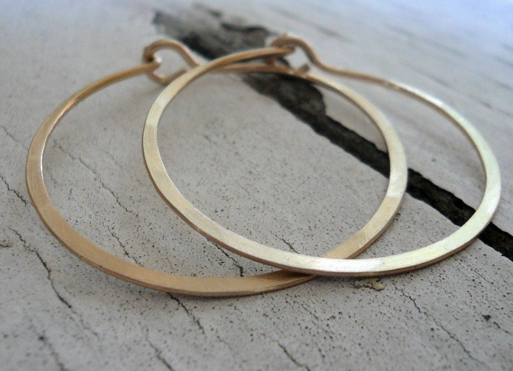 Satin Hoops - Handmade. Handforged. Matte 14k goldfill hoops. Choice of 6 sizes