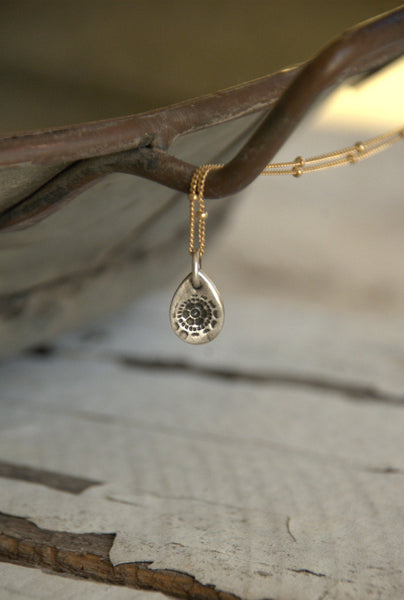 Charleston. Old South Collection Necklace - Oxidized fine Silver. 14 kt Goldfill Satellite chain. Handmade