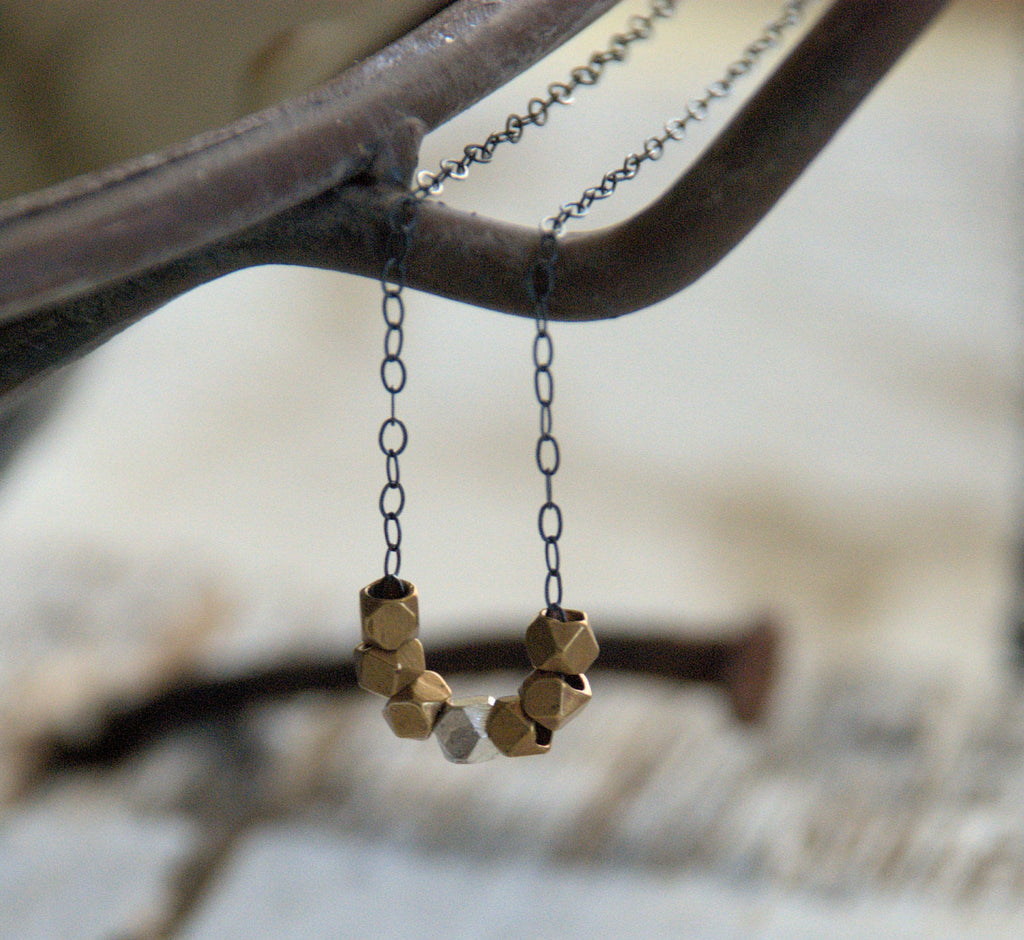 Ore Collection Necklace - Oxidized Sterling and Fine Silver. Brass. Handmade
