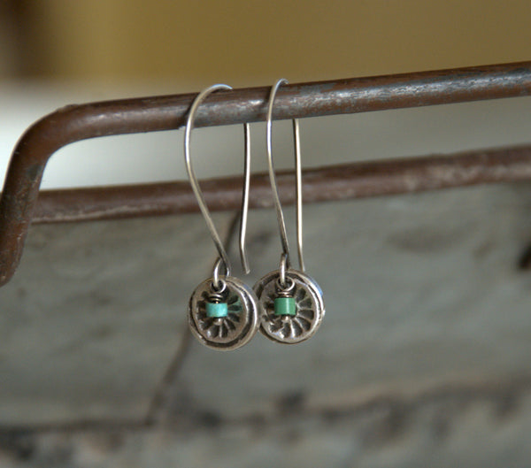 Desert Bloom Earrings- Oxidized fine silver. Turquoise. Dangle earrings.Handmade