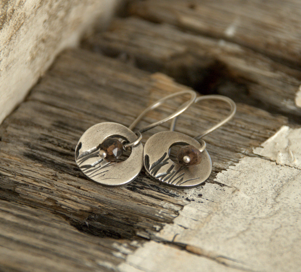 Sawgrass Earrings- Oxidized fine silver. Andalusite. Dangle earrings.Handmade
