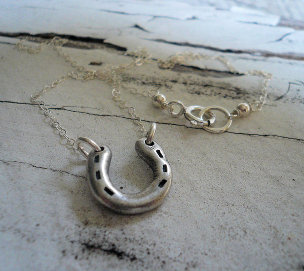 Lucky Necklace - Handmade. Oxidized Fine and Sterling Silver