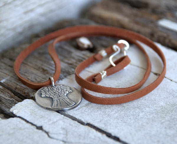Autumn - Seasons Necklace - Fine & Sterling Silver. Leather. Handmade.