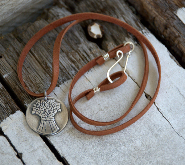 Spring - Seasons Necklace - Fine & Sterling Silver. Leather. Handmade.