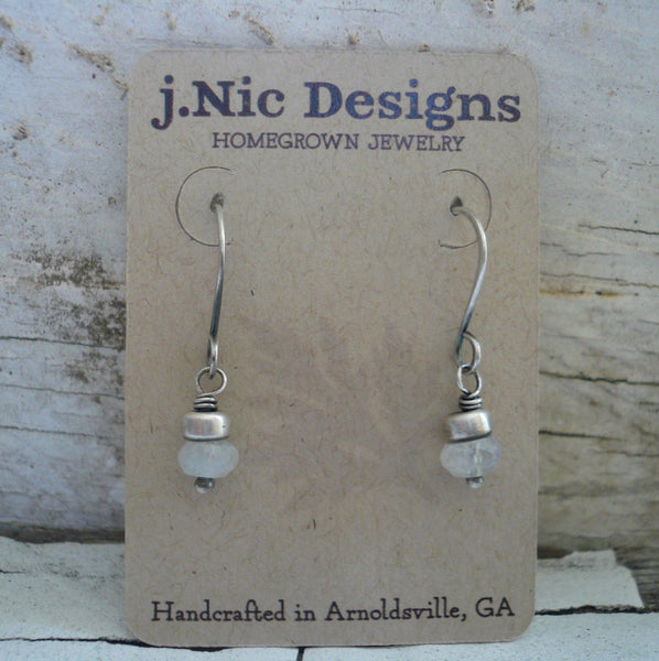 Dandy Earrings in Ice -  Moonstone. Oxidized Sterling silver. Dangle earrings.Handmade