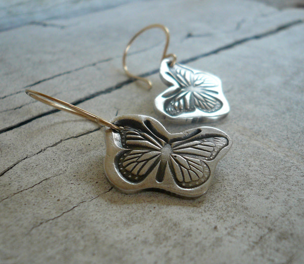 Flutter Earrings - Oxidized fine silver. 14kt Goldfill. Mixed Metal. Handmade
