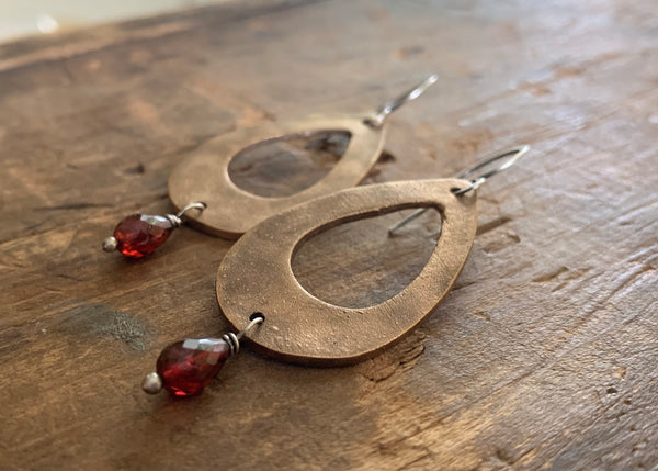 Sangria Earrings - Handmade. Mixed Metal. Garnet. Oxidized Silver & Bronze dangle earrings. January Birthstone