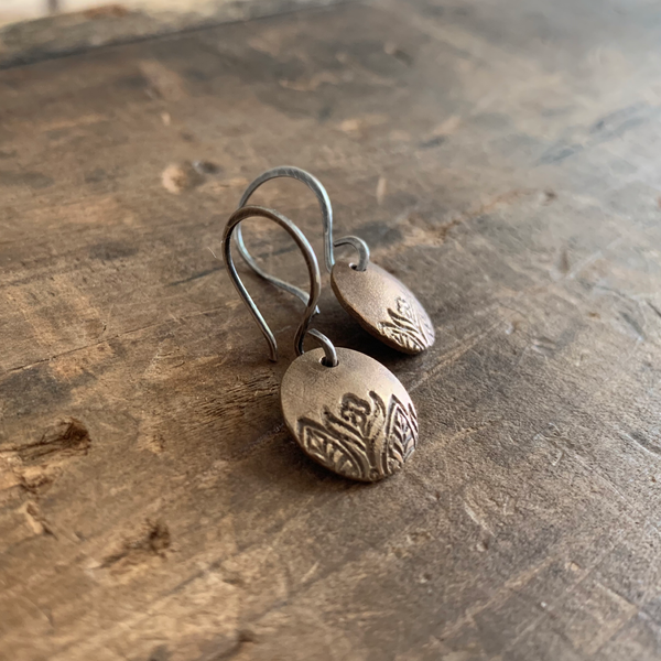 Florin Earrings - Handmade. Bronze and Oxidized sterling silver dangle earrings. Mixed Metal