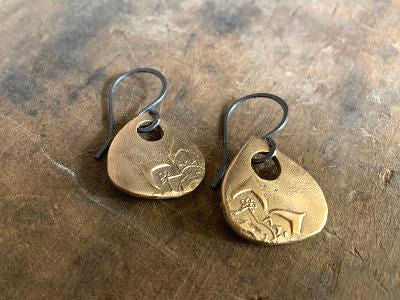 NEW Indah Earrings - Handmade. Bronze and Oxidized sterling silver dangle earrings. Mixed Metal