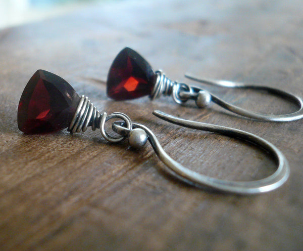 January Earrings - Handmade. Garnet. Mixed Metals. Oxidized Fine silver & 14 kt Goldfill dangle birthstone Earrings