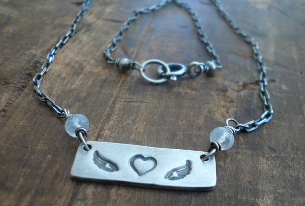 Katie Necklace - Handmade. Oxidized Fine and Sterling Silver. Moonstone