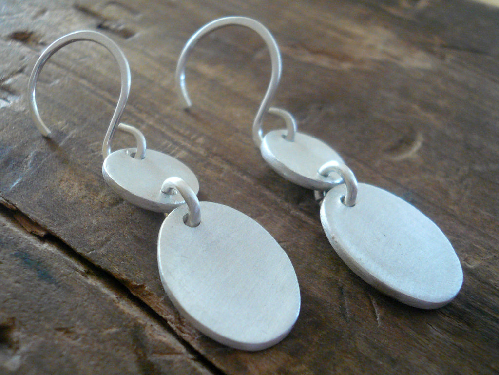 Lacuna Collection Dangle Earrings - Handmade. Brushed Fine Silver Earrings.
