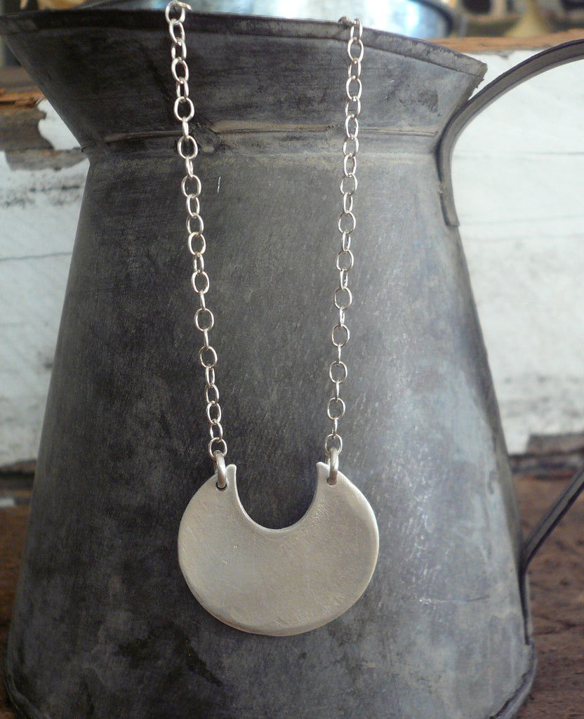 Lacuna Collection Necklace - Handmade. Brushed Fine Silver Pendant Necklace