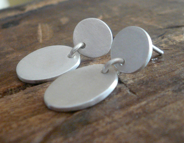 Lacuna Collection Post Earrings - Handmade. Brushed Fine Silver Earrings.